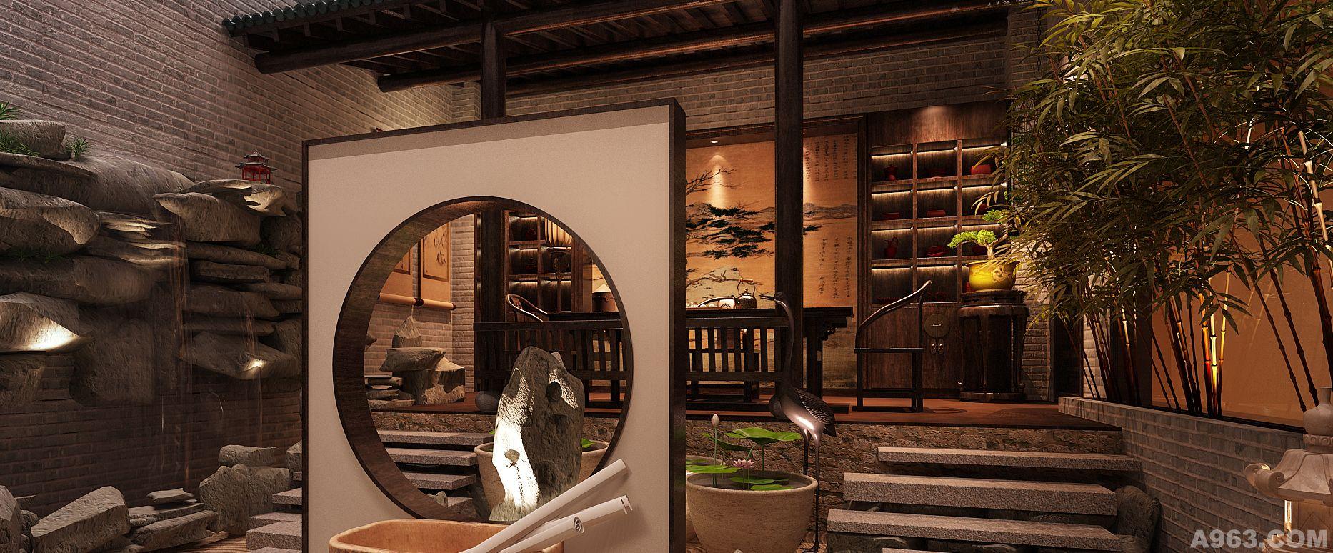 种植黄竹瀑布将室外环境带入室内,运用漏窗,以及把过的沙石与传统的