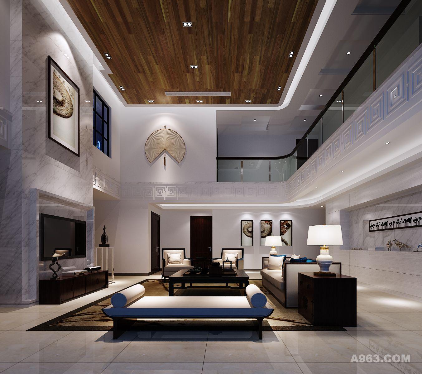 客厅整面到顶的爵士白大理石电视背景墙面,经典考究的现代中式家具,采