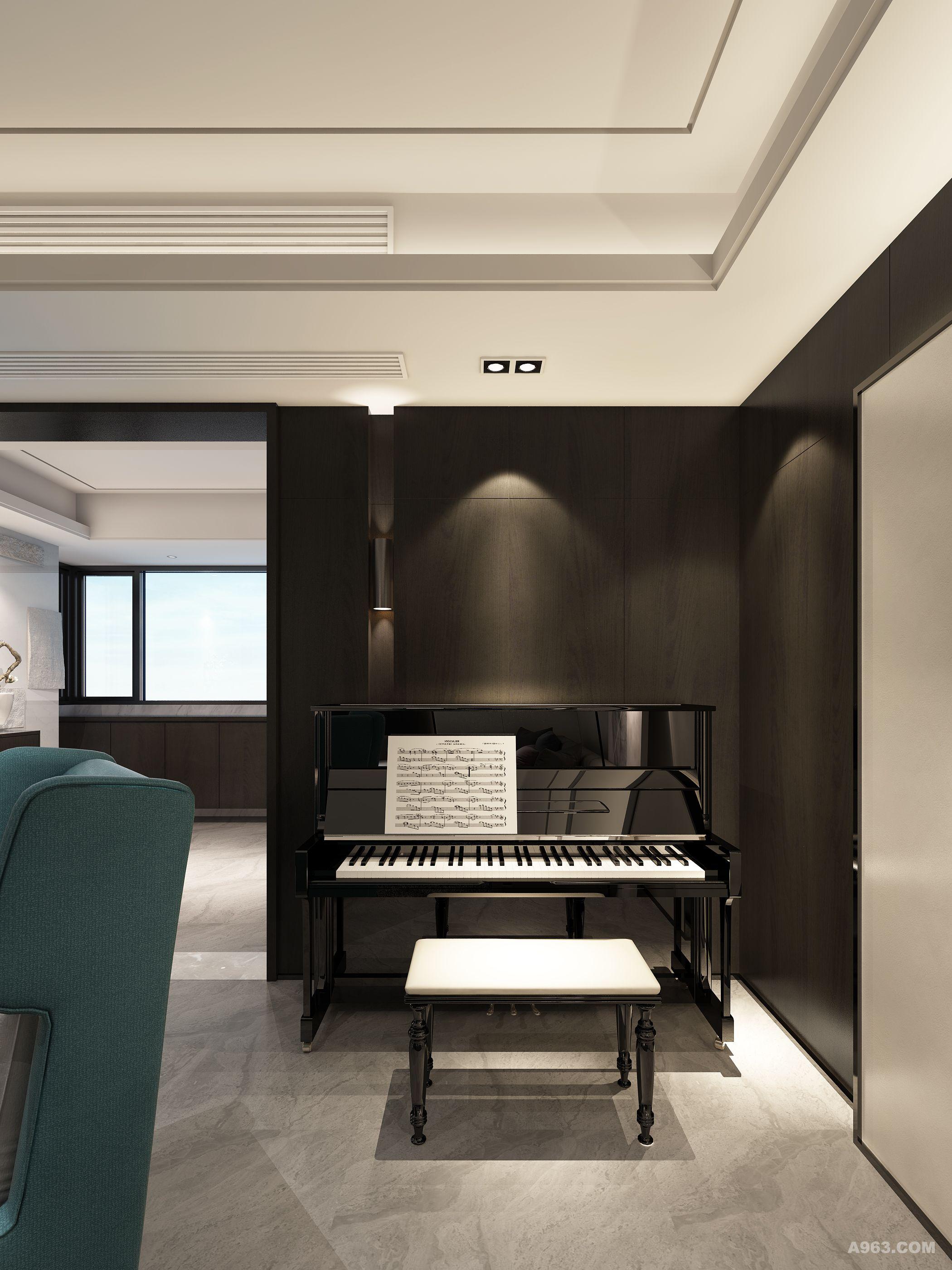 大客厅书柜钢琴效果图